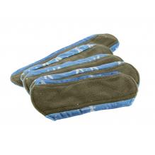 Kit de départ - serviettes hygiéniques lavables minky bleu libellulles - Pochette gris clair arbres