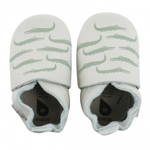 chaussons enfant soft sole 'mint crocodile print'