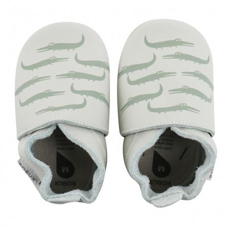 chaussons enfant soft sole 'mint crocodile print'