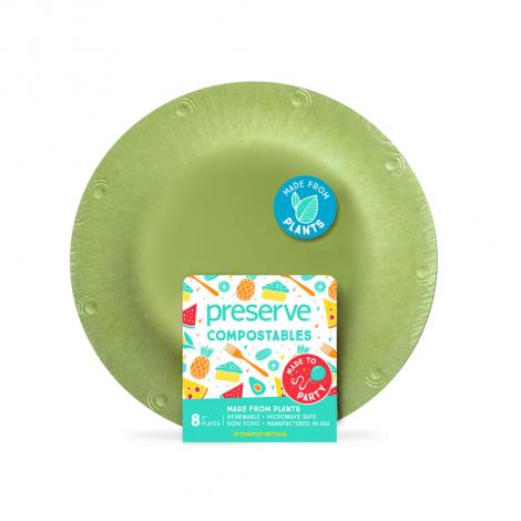 Petite assiette végétale compostable - 17,8 cm - Lot de 8 - Vert