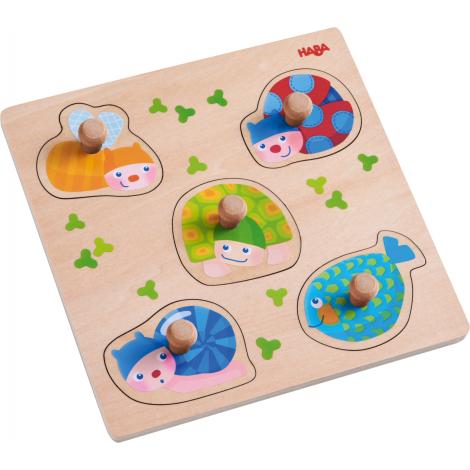 Puzzle en bois à encastrement - Animaux multicolores - à partir de 12 mois