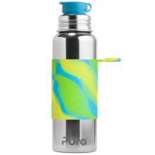 Gourde bouteille isotherme en inox - modèle sport - 850 ml - Vagues vertes