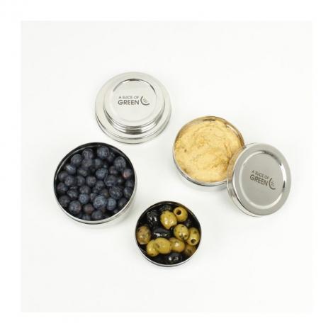 Trio de petites boîtes rondes gigognes en inox - Kadapa