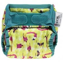 Culotte de protection pour couches lavables - Taille unique velcros - Flamants roses