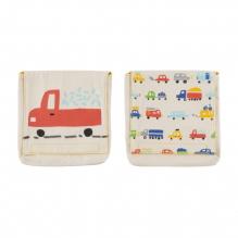 Snack pack: pochette alimentaire en coton BIO - motif Transports  - lot de 2