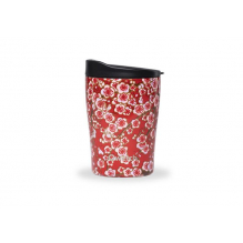 Gobelet inox isotherme avec couvercle - Rouge flowers