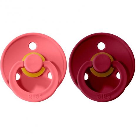 Set de 2 tétines en caoutchouc naturel - coral & ruby