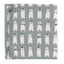 Couverture réversible en coton BIO - 72 x 72 cms -  Ours polaire