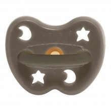 Tétine orthodontique en caoutchouc - Etoiles et lunes - Shitake grey