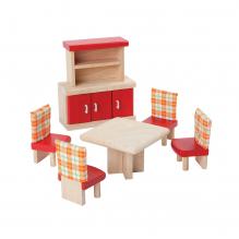 Salle à manger bois coloré maison de poupée - à partir de 3 ans
