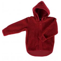 Gilet veste à capuche - Polaire de laine - Cassis