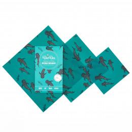 Emballages alimentaires à la cire d'abeille - Trio pack - Baleine