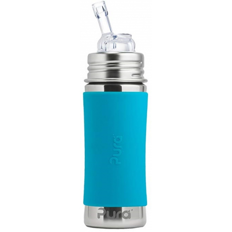 Biberon évolutif en inox - 325 ml - paille - Turquoise