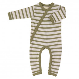 Pyjama coton bio - Rayures bretonnes - olive