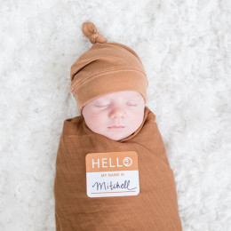 Swaddler et bonnet Hello World - Tan