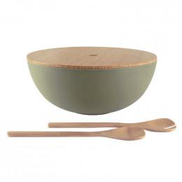 Saladier avec couvercle et couverts en bambou