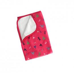 Tapis couverture de change - Rose oiseaux et libellules