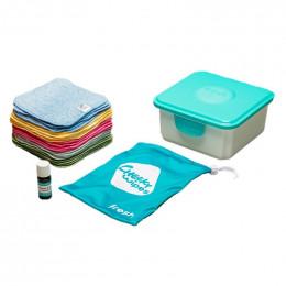 Mini kit lingettes - coton organique Zéro Twist Premium- arc-en-ciel - Mandarine