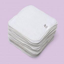 Kit TE1 lingettes lavables - coton BIO Premium Zéro Twist Organic- Blanc - Mandarine