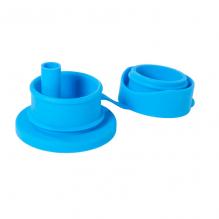 Bouchon en silicone avec paille pour bouteille et gourde - Bleu
