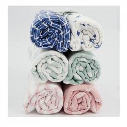 Langes d'emmaillotage en coton - Lapins blancs - Lot de 2