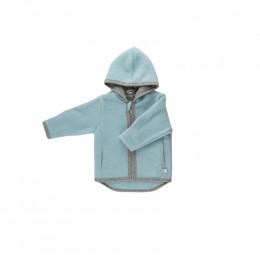 Gilet veste à capuche Milo - Polaire de laine - Bleu givré