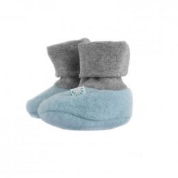 Chaussons en polaire de laine - Bleu givré