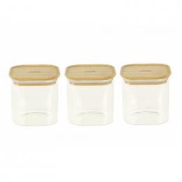 Set de 3 bocaux en verre + couvercles en bambou - 800 ml