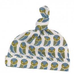 Bonnet en coton BIO - Hiboux bleu