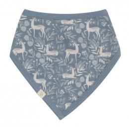 Bavoir bandana en coton Bio  - Cerf bleu