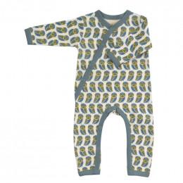 Pyjama kimono en coton BIO - Hiboux bleu