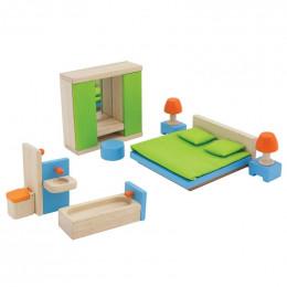 Chambre et salle de bain en bois pour maison de poupées - à partir de 3 ans