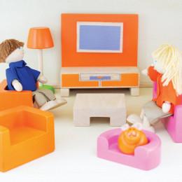 Salon en bois pour maison de poupées - à partir de 3 ans
