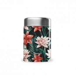 Boîte repas lunch box isotherme inox - Flower tropical noir - 650ml