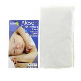 Alèse + Drap Housse 2-en-1 (Kadolis) - Pour Lit Bébé 60x120 cm - plusieurs coloris disponibles