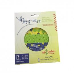 3 emballages alimentaires réutilisables à la cire d'abeille - 3 tailles - Jardin d'hiver