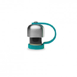 Bouchon avec attache silicone pour gourde Qwetch inox isotherme 260 et 500 ml - Turquoise