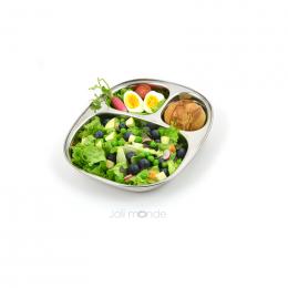 Assiette repas en inox - 3 compartiments