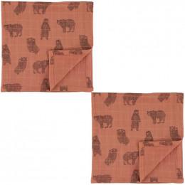 Langes en mousseline - 110x110cm - 2pcs - Brave Bear