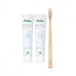 DUO de dentifrices Bio Dents blanches. Arôme de menthe 75 ml + Brosse à dent
