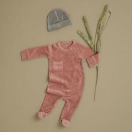 Pyjama bébé à pieds en velours Ash rose