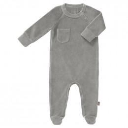 Pyjama bébé à pieds en velours Paloma grey