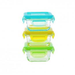 3 plats carrés étanches en verre - 3 x 150 ml