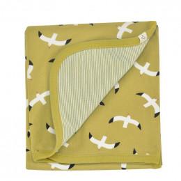 Couverture réversible coton BIO - Mouettes Moutarde