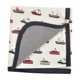 Couverture réversible coton BIO - Bateaux Navy
