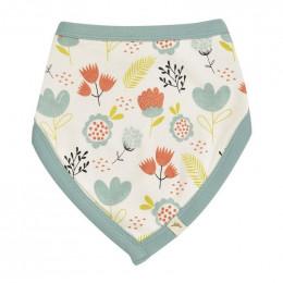 Bavoir bandana réversible - 0 à 12 mois - Flowers Turquoise
