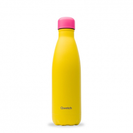 Gourde bouteille nomade isotherme - 500 ml - Colors - Jaune bouchon rose