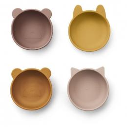 Set de 4 bols en silicone Iggy - Rose mix