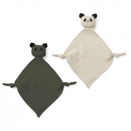 Set de 2 doudous Yoko - Panda hunter green/sandy mix