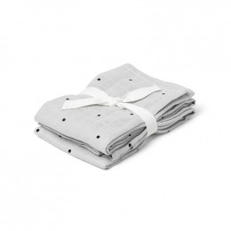 Set de 2 langes en mousseline de coton bio Hannah - Classic dot dumbo grey